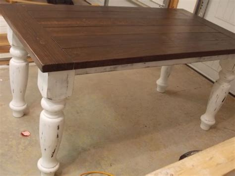 stained table top painted legs turned leg farmhouse table do it yourself home projects