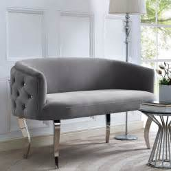 tufted gray velvet banquette bench chrome