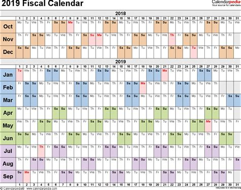 1 day calendar template fiscal calendars 2019 as free printable word templates