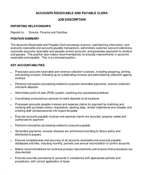 Accounts Payable Resume Sle Template Template Resume For Accounts Receivable Clerk Description Responsibilities 12 Images