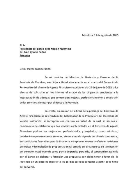 carta del gobierno provincial al banco naci 243 n