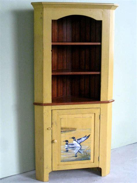 Corner Cabinet Hand Painted For Lake House   ECustomFinishes
