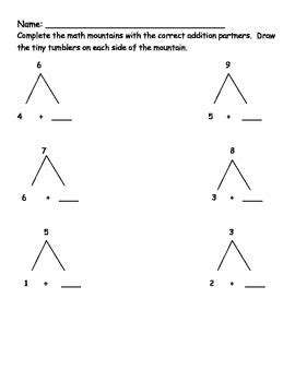 Math Mountain Worksheets 1st Grade by Addition Using Math Mountains Worksheets By Katherine