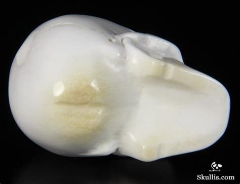 White Calcedony 2 5 quot white chalcedony carved skull realistic