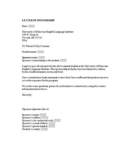 Sponsor Letter Template For Australian Visa Sle Sponsorship Letter Printable Sponsorship Letter Template Sle Sponsorship Letter For