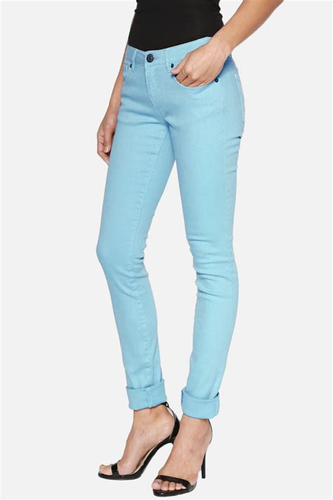 colored denim themogan s juniors basic colored low rise stretch