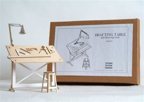 Miniature Drafting Table Model Kit With Real Wood Tabletop Mini Drafting Table