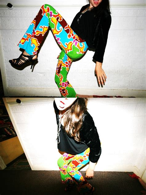 wild pattern heels nikita ferrier crazy pattern tight pants thrift shop