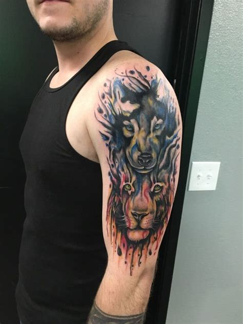 watercolor tattoo san diego wolf and watercolor by kenniston at sd