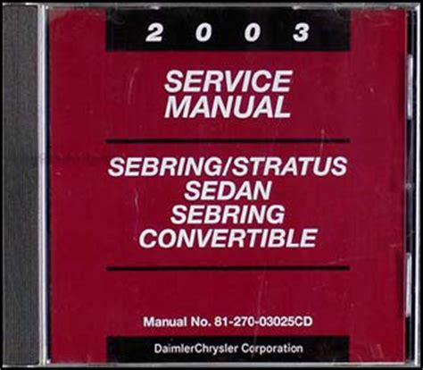old car manuals online 2003 chrysler sebring on board diagnostic system 2003 chrysler sebring convertible owner s manual package