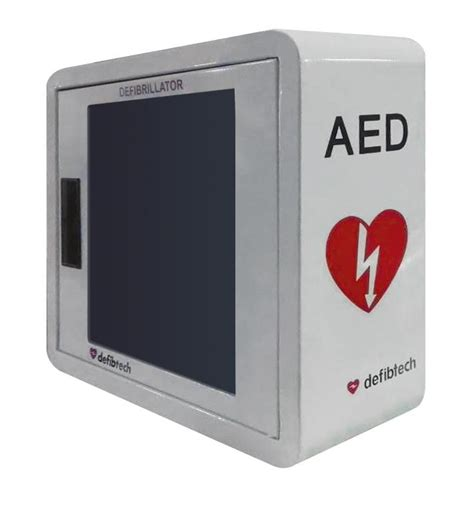 defibtech wall mount aed cabinet with alarm priority