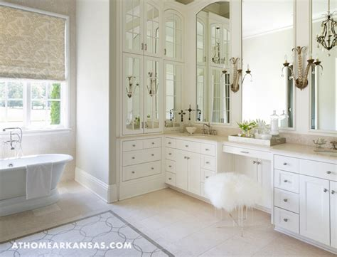 Bathroom Vanity With Built In Stool Master Bath Makeup Vanity With Sheepskin And Lucite Stool