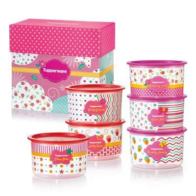 Tupperware Compact Canister 4pcs Pink Kuning blushing pink one touch gift set tupperware singapore