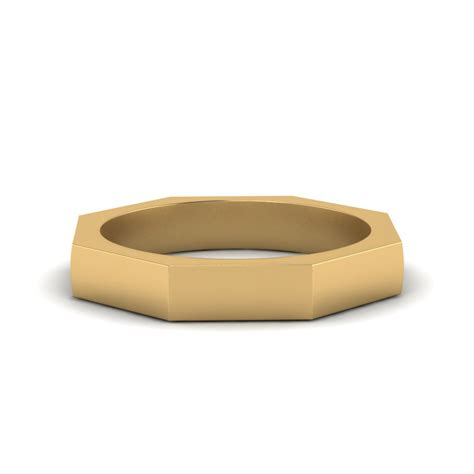 comfort band octagone comfort fit mens band in 14k yellow gold