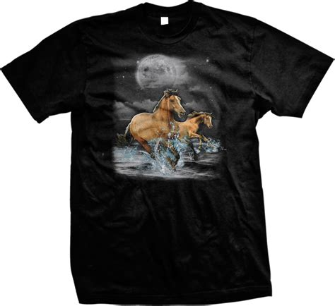 Tees Spirit Animal horses moon spirit animal wilderness outdoors nature mens