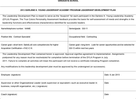 leadership development plan template download free