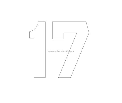 printable jersey font free jersey printable 17 number stencil