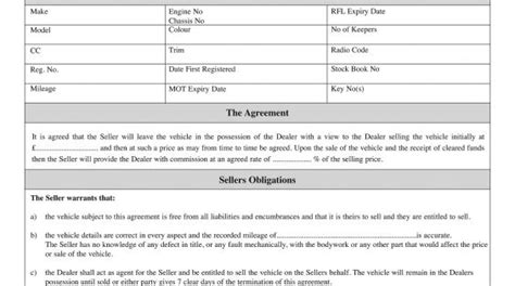 Sale Or Return Agreement For Used Car Sales Motor Trade Stationery Pinterest Cars Sale Or Return Agreement Template Free