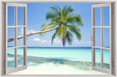 window wall murals 3d window view wall sticker mural decal wallpaper ebay