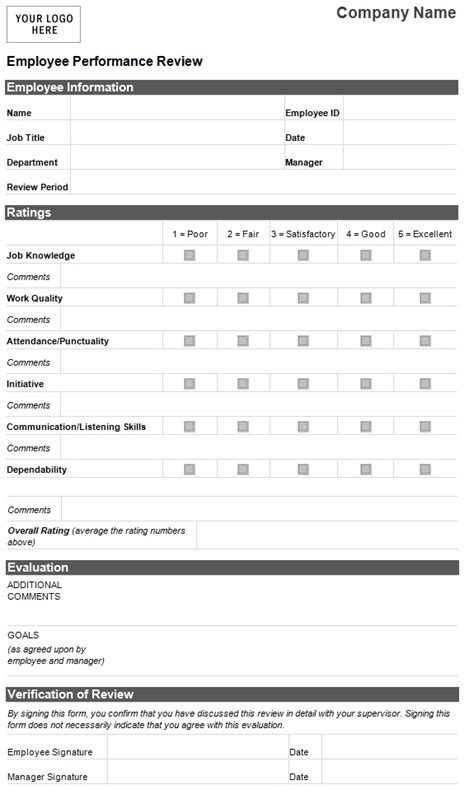 performance evaluation form templates employee performance evaluation form template