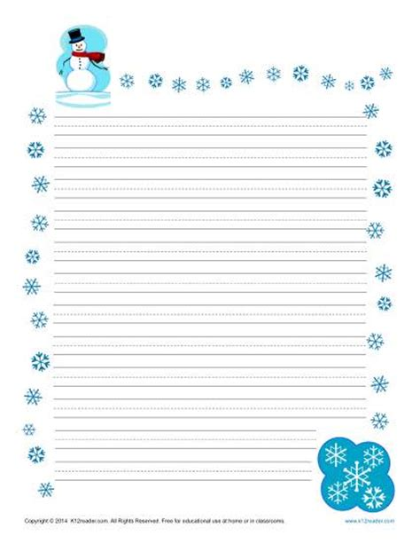 snowflake writing template winter printable lined writing paper