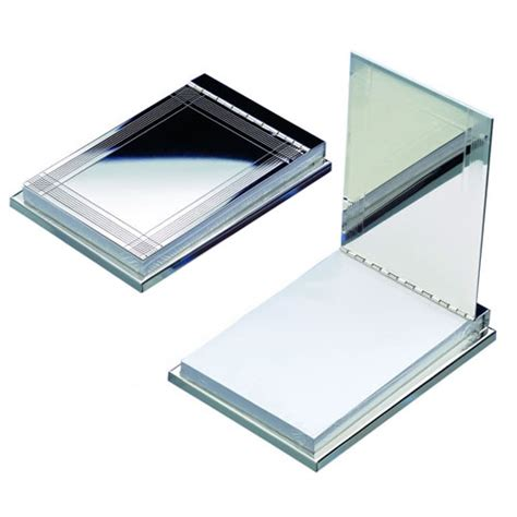 Engraved Silver Plated Flip Top Memopad Holder Business Business Desk Accessories