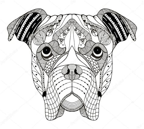 dog pattern drawing boxer pes hlavu zentangle stylizovan 233 vektor ilustrace