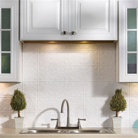fasade backsplash panels fasade 24 in x 18 in traditional 1 pvc decorative backsplash panel in gloss white b50 00 the