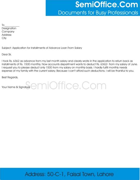 Advance Application Letter Application For Installments Of Advance Salary Semioffice