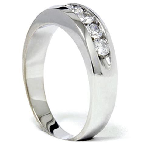 mens 3 4ct white gold wedding ring band new ebay
