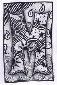 items similar to zentangle letter m zebra letters name