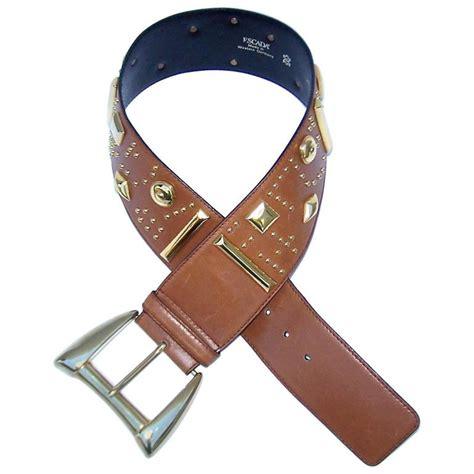 gold studded 1980 s escada camel leather wide belt for