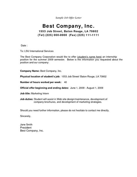 Business Letter Example Offer how to write a job offer letter sample cover letter templates
