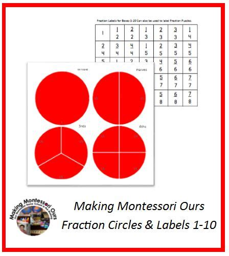 montessori fractions printable pin by cherine making montessori ours on homeschool