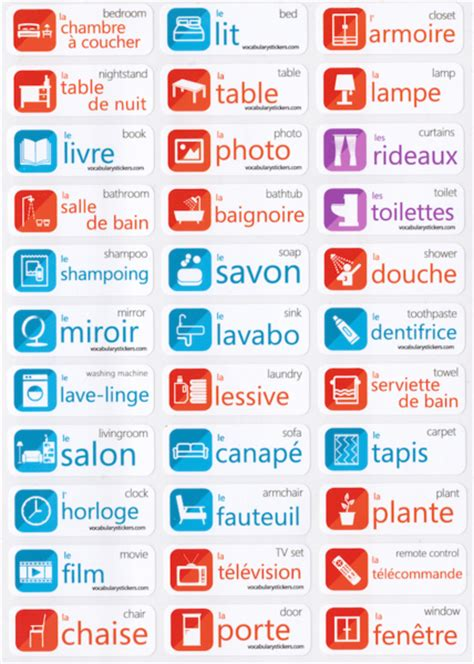 what is the french word for bedroom french language stickers vocabularystickers
