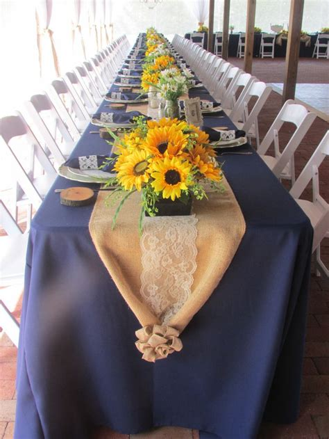 sunflower table settings changes runners wedding and burlap wedding tables