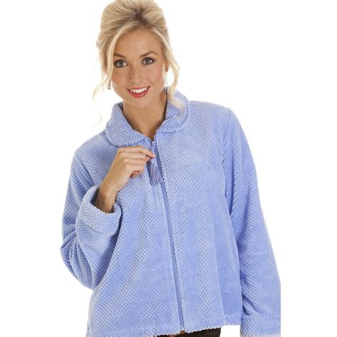 womens zip front soft fleece bed jacket