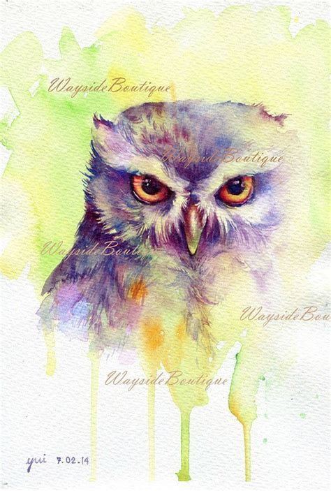 water color owl owl watercolor painting 7 5 x 11 by
