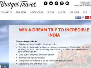 Amazon India Sweepstakes - budget travel dream trip to incredible india sweepstakes