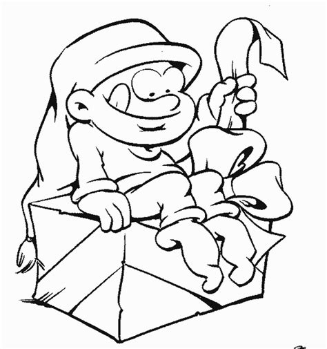 coloring page elf with present cartoon christmas elf coloring home