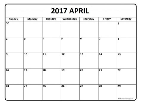 Kalender 2017 April April 2017 Calendar April 2017 Calendar Printable