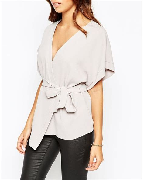 Obi Band Wrap Blouse Bhn Wedges Superfit To L Besar asos obi band wrap blouse in gray grey lyst