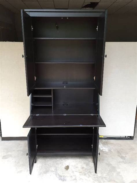 storage cabinet with fold out table wow ikea hemnes blackish brown solid wood tall large