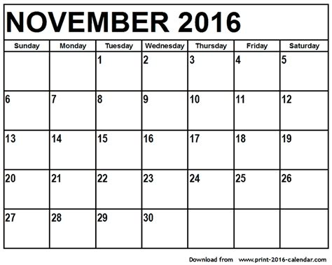 printable calendar november 2016 calendar of month of november calendar template 2016