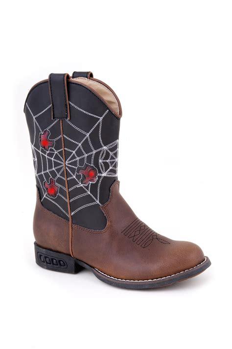 nib roper boys cowboy boots faux leather brown lights