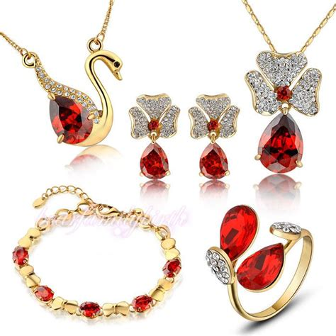 5pcs Ruby 5pcs jewelry set ruby ring necklace earrings