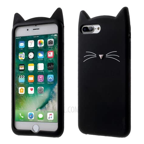 Iphone 7 Plus Soft 3d White Cat Casing Tpu Cover Bumper Armor lovely 3d moustache cat soft silicone back for iphone 7 plus black tvc mall
