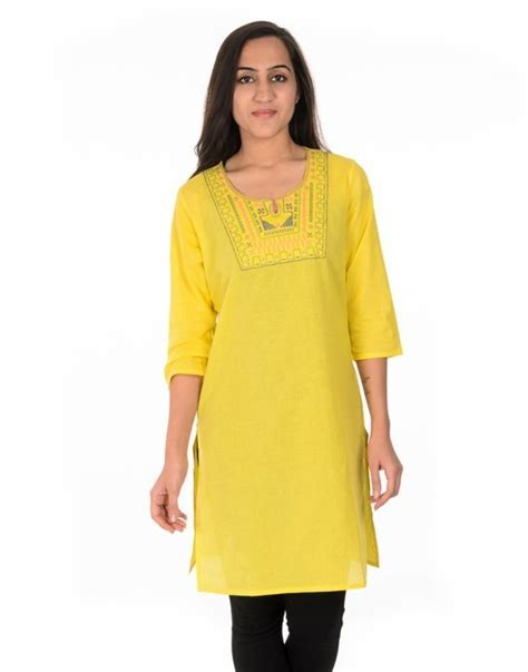 yellow kurti pattern buy designer yellow cotton kurti online