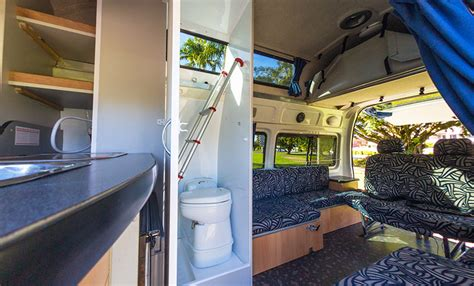 Converting Bath To Shower campervan hire australia 5 people with shower and toilet