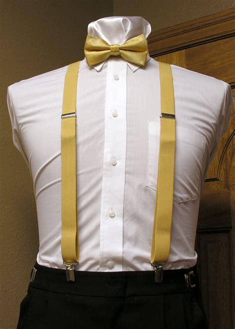 gold s suspender 1 inch x back with gold pre bow
